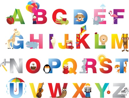 The complete childrens english alphabet spelt out with different fun cartoon animals and toys Vector