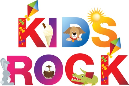 The word kids rock  made up from alphabet cartoon letters with matching animals and objects