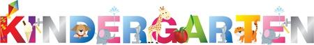 kinder: El jard�n de la palabra de letras del alfabeto dibujos animados con animales y objetos Vectores