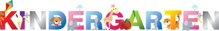The word kindergarten made up from alphabet cartoon letters with matching animals and objects