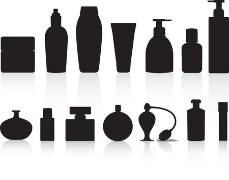 fragrance: Parfum, lotions, drankjes en schoonheid product flessen als zwarte silhouetten gedetailleerde