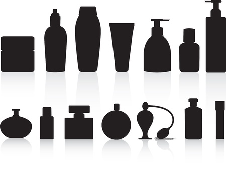 eau de toilette: Perfume, lotions, potions and beauty product bottles as black detailed silhouettes