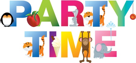 white party: Childrens leuke alfabet brieven spelling uit feest op witte achtergrond