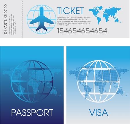 Ilustración de un conjunto de billetes de avión genérico, documentos de pasaporte y visa Ilustración de vector
