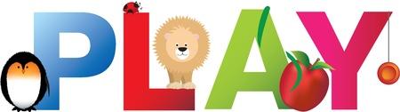 El juego de palabras que se compone de letras del alfabeto dibujos animados con coincidentes animales y objetos