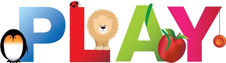 The word play made up from alphabet cartoon letters with matching animals and objects Vector
