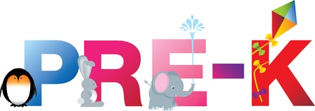 The word pre-k made up from alphabet cartoon letters with matching animals and objects Vector