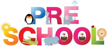 The word pre-school made up from alphabet cartoon letters with matching animals and objects Illustration