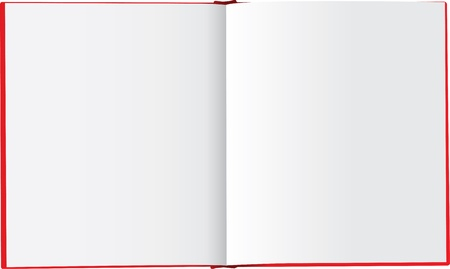 Illustration of a book spread with empty white blank pages