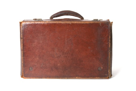 plain stitch: Old style brown leather suitcase isolated on a white background