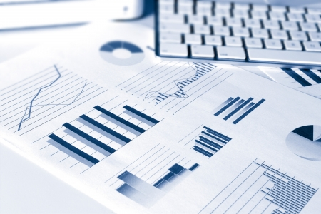 financial report: set of financial performance business data graphs showing growth and sales