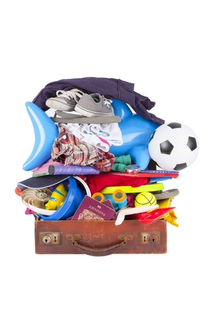open suitcase: A suitcase packed so dull that it cannot be close or shut Stock Photo