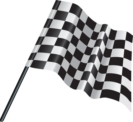 checked flag: illustration of a black and white motor racing finishing checked flag Illustration