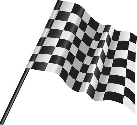motor racing: Ilustraci�n de un blanco y negro del automovilismo acabado marcada bandera
