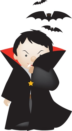 dressing up costume: cute cartoon of a little boy dressed as count dracula Illustration