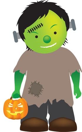 cartoon illustration of a little boy dressed up as frankenstein Vector