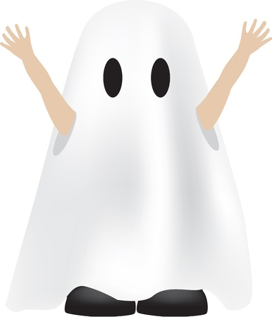 role play: cartoon character illustration of a child dressed as a ghost