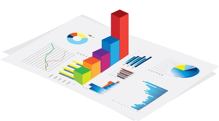 financial performance: 3d visual of business financial performance graphs on white background
