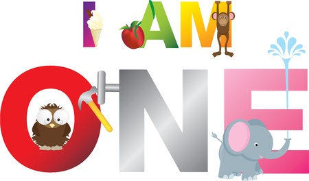 Childrens alphabet letters making the words i am one, 1. Vector