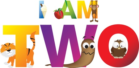 Childrens alphabet letters making the words i am two, 2. Vector