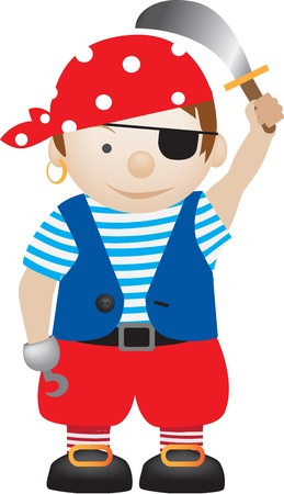 little boy dressed up as a pirate cartoon Stock Vector - 9843685