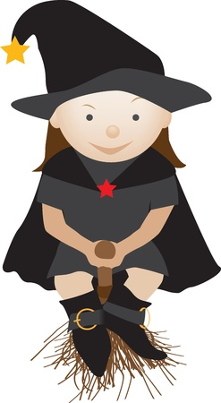 cartoon character illustration of a smiling child flying on a broom Vector