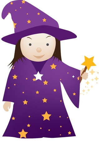 illustration of a little child dressed up as a wizard Stock Vector - 9843683