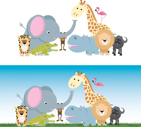 selection of wild animal cartoons including elephants, cats and a monkey Illustration