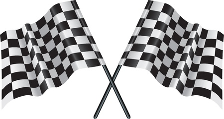 checkered flag: falgs incrociate che rappresentano lo sport o le linee di finitura Vettoriali