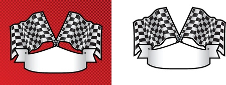 motor race: checkered cross finishing line racing flags on background with scroll space for message