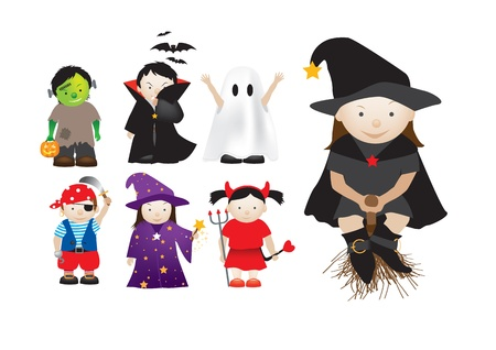 collection of cartoon halloween and party dressing up kids Vector