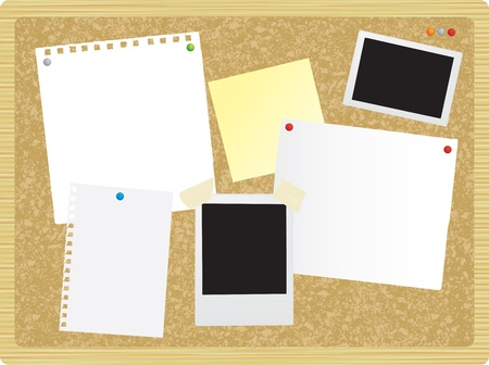 pinboard: blank sheets of paper on a ntoriceboard or pinboard