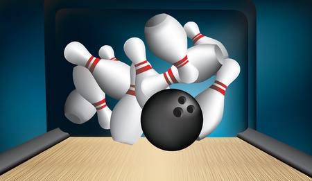 bowling strike: ten pin bowling alley with pins strike out