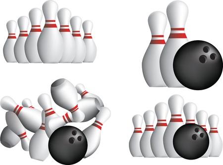 pin: Diez pin bowling pines aislado o un fondo blanco Vectores