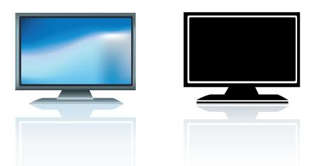 modern led hdtv flatscreen tv illustration on white