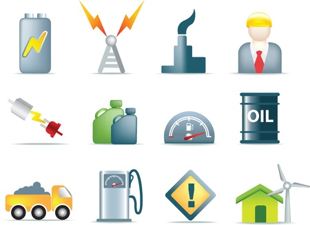energy icons for the electric, fuel, gas and oil industries as illustrations Banco de Imagens - 9991706