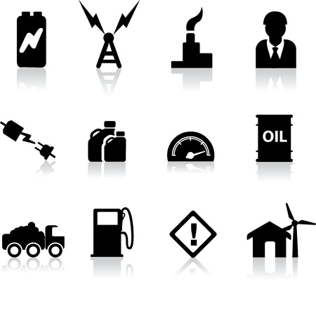 energy icons for the electric, fuel, gas and oil industries as illustrations Stock Vector - 9991703