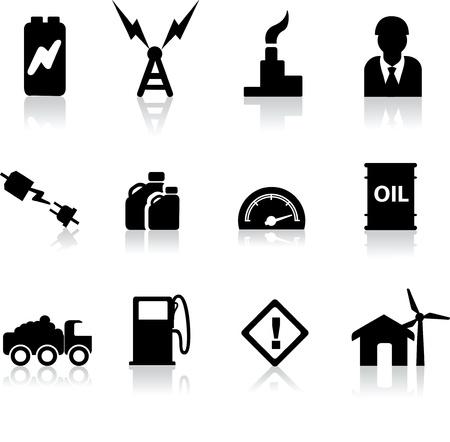 tanque de combustible: iconos de energ�a el�ctrica, combustible, gas y petr�leo de industrias como ilustraciones Vectores