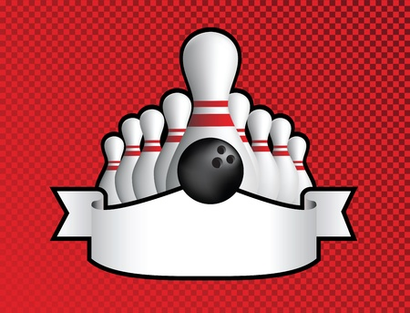funky ten pin bowling red and black illustration with all pins