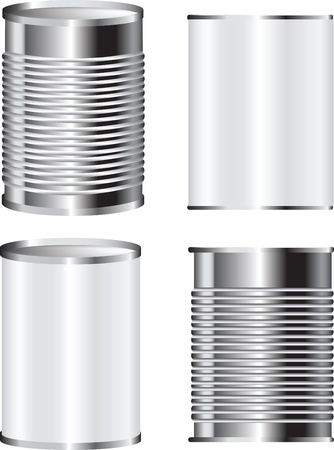 illustration of a tin food can for packaging with blank label