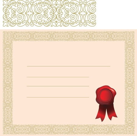 blank certificate with gold elaborate border and red wax stamp or seal Vector