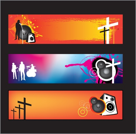 religious music: set of banners for christian religious music rock or pop bands for young kids and teenagers using gradient mesh.