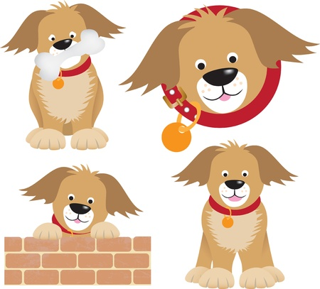 cartoon character of a dog with a bone and standing on a wall and inside a round shape collar, uses gradient mesh Stock Vector - 9991737