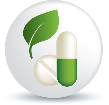 remedy: symbol of green leaf and tablet or capsule representing green and natural medicine