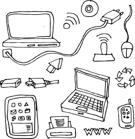 cable telefono: dibujo a mano de equipos, tabletas, impresoras, cables y elementos de la red de tecnolog�a Vectores
