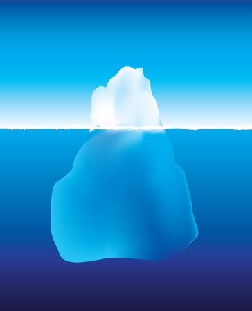 een afbeelding met behulp van verloopnet van een ijsberg onder en boven het water