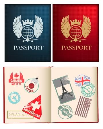 passport: p�ginas otside y iside de un pasaporte rojo y azul con sellos, utiliza malla de degradado Vectores