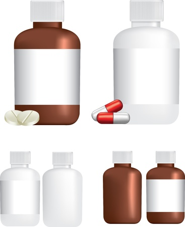 A selection of medicine or tablet bottles and pills on white background using gradient mesh Ilustração