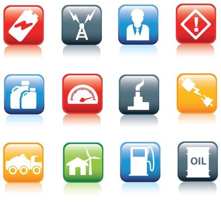serie de icono para las industrias de energía y combustible y Powell.