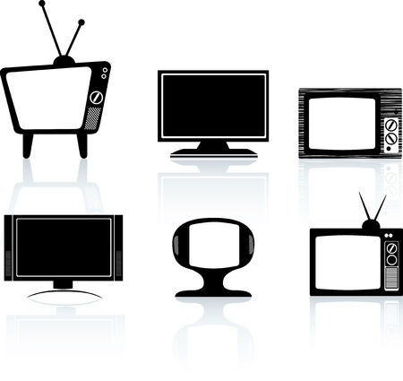high definition television: illustrations of different styles of tv television set